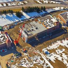 Aerial Overview of deck installation for Lakeview WTP Low Lift Pump Station
