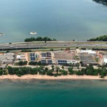 Aerial overview of Burlington Skyway wastewater treatment plant