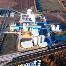 Aerial overview of Integrated Grain Processors Cooperative Ethanol Plant