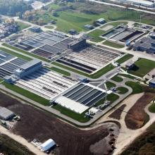 Aerial Overview of Waste Water Treatment Plant