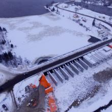 Aerial overview of Timiskaming Ontario Dam during winter