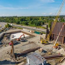 Golden Ears Pump Station and Storage Tank Excavation Set-up Overhead View