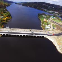 Aerial overview of Timiskaming Ontario Dam