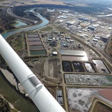 Aerial Overview of Red Deer wastewater treatment plant
