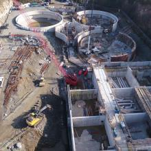 Aerial Overview of construction for Nanaimo Wastewater Treatment Plant
