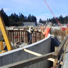 formwork for concrete tank wall pour